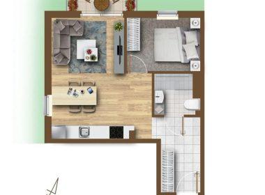 Bukowo 41,79m2, 2 pokoje, ogródek 66m2, parter