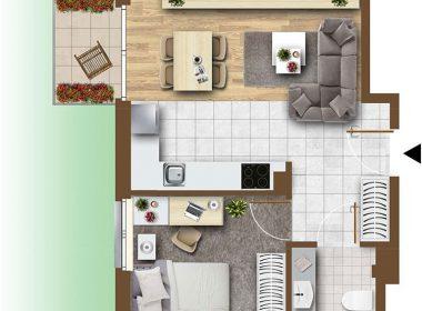 Dwa pokoje z ogródkiem, parter
