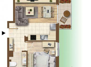 Dwa pokoje 36,54m2, ogródek 34m2, garaż