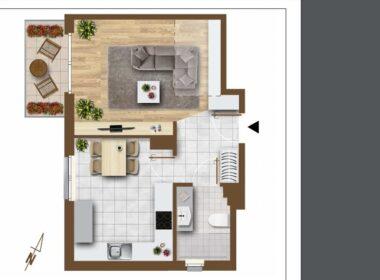 Bukowo, 68,46m2, dwa poziomy, garaż, balkon